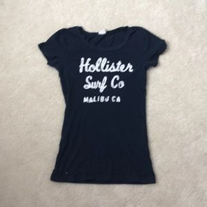 Hollister Women's Navy Blue Shirt with White Print